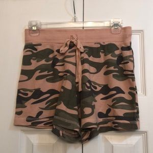 Pink Camo drawstring sleep shorts